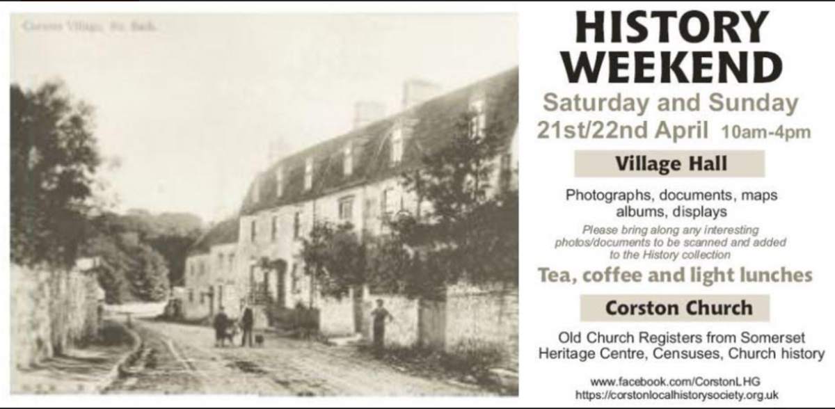 A celebration of Corston Local History featuring photographs, documents,  maps and displays over Saturday 21st and Sunday 22nd April