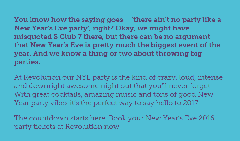 say goodbye to 2016 and hello to 2017 in style at revolution baths new years eve party extravaganza